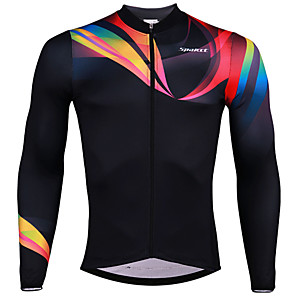 cheap Cycling Jerseys-SPAKCT Men's Long Sleeve Cycling Jersey Black Stripes Bike Jersey Top Breathable Moisture Wicking Quick Dry Sports Elastane Polyster Mountain Bike MTB Road Bike Cycling Clothing Apparel / Stretchy