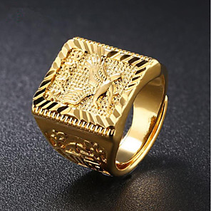 cheap Pendant Necklaces-Men's Signet Ring Gold 18K Gold Plated Square Geometric Street chic Hip Hop Daily Evening Party Jewelry Stylish Engraved Eagle Punk