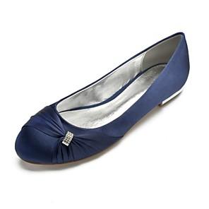 cheap Wedding Shoes-Women's Wedding Shoes Flat Heel Round Toe Rhinestone / Side-Draped Satin Comfort / Ballerina Spring Blue / Champagne / Ivory / Party & Evening