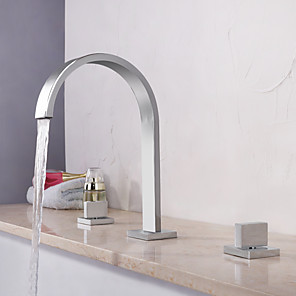 cheap Bathtub Faucets-Bathtub Faucet - Contemporary Chrome Widespread Brass Valve Bath Shower Mixer Taps / Two Handles Three Holes