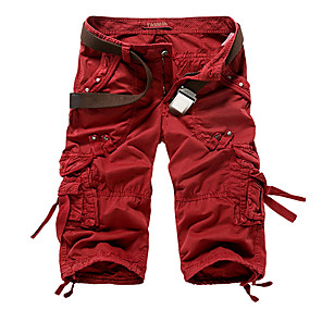 cheap Hiking Trousers & Shorts-Men's Basic Military Daily Shorts Tactical Cargo Pants Solid Colored Wine Army Green Khaki 29 30 31