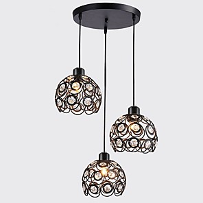 cheap Island Lights-CXYlight 3-Light 25 cm Crystal Pendant Light Metal Cluster Painted Finishes Retro Vintage / Globe 110-120V / 220-240V