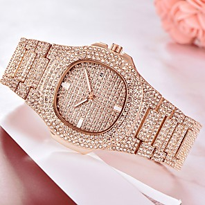 cheap Men's Bracelets-Men's Bracelet Watch Wrist Watch Quartz Pave Silver / Gold / Rose Gold Calendar / date / day Creative Luminous Analog Luxury Sparkle Bling Bling fancy - Rose Gold Gold Silver One Year Battery Life