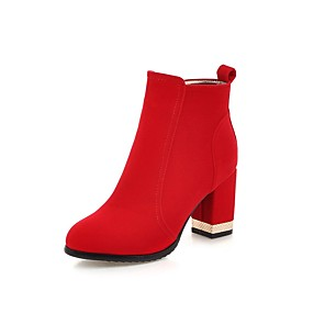 cheap Women's Boots-Women's Boots Bootie Chunky Heel Round Toe Suede Booties / Ankle Boots Minimalism Fall & Winter Black / Red / Wedding / Party & Evening