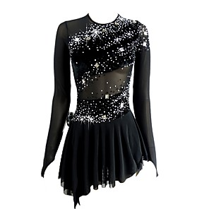 cheap Ice Skating Dresses , Pants & Jackets-Figure Skating Dress Women's Girls' Ice Skating Dress Black Open Back Asymmetric Hem Spandex Micro-elastic Professional Competition Skating Wear Handmade Sequin Long Sleeve Figure Skating