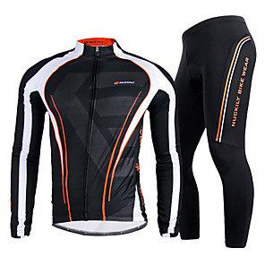 cheap Cycling Jersey & Shorts / Pants Sets-Nuckily Men's Long Sleeve Cycling Jersey with Tights Winter Nylon Polyester Black Stripes Bike Clothing Suit Windproof Breathable Quick Dry Anatomic Design Reflective Strips Sports Stripes Mountain