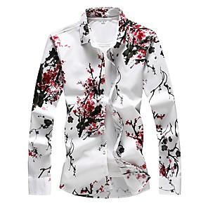 cheap Women's Sandals-Men's Plus Size Shirt Floral Print Slim Tops Basic Red / Long Sleeve