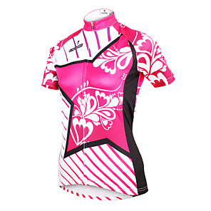 cheap Cycling Jerseys-ILPALADINO Women's Short Sleeve Cycling Jersey Polyester Yan pink Floral Botanical Plus Size Bike Jersey Top Mountain Bike MTB Road Bike Cycling Breathable Quick Dry Ultraviolet Resistant Sports