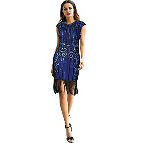 cheap Historical & Vintage Costumes-The Great Gatsby Charleston Vintage 1920s Roaring 20s Flapper Dress Masquerade Women's Sequins Costume Black / Golden+Black / Blue Vintage Cosplay Party Homecoming Prom Sleeveless Knee Length
