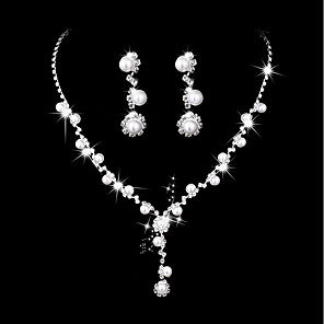 cheap Jewelry Sets-Women's Necklace Classic Creative Classic Elegant Sweet Imitation Pearl Rhinestone Earrings Jewelry Silver For Wedding Party 1 set