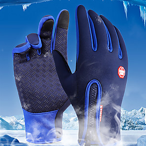 cheap Camping Tools, Carabiners & Ropes-Winter Bike Gloves / Cycling Gloves Ski Gloves Mountain Bike MTB Thermal / Warm Touch Screen Waterproof Windproof Full Finger Gloves Touch Screen Gloves Sports Gloves Fleece Silicone Gel Black Sky