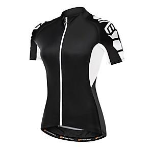 cheap Triathlon Clothing-Nuckily Women's Short Sleeve Cycling Jersey Polyester Elastane White Black Plus Size Bike Jersey Top Mountain Bike MTB Road Bike Cycling Breathable Quick Dry Sports Clothing Apparel / SBS Zipper