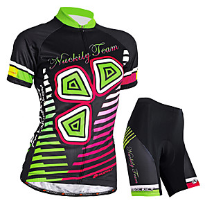 cheap Cycling Jersey & Shorts / Pants Sets-Nuckily Women's Short Sleeve Cycling Jersey with Shorts Black Bike Shorts Jersey Clothing Suit Waterproof Breathable Ultraviolet Resistant Waterproof Zipper Reflective Strips Sports Polyester Elastane