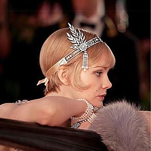 cheap Historical & Vintage Costumes-The Great Gatsby Charleston Pendant 1920s Roaring 20s Flapper Headband Women's Tassel Costume Head Jewelry Black / Golden / Silver Vintage Cosplay Party Prom / Headwear / Leaf / Headwear