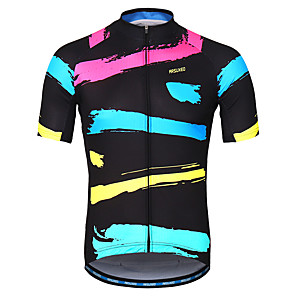 cheap Cycling Jerseys-Arsuxeo Men's Short Sleeve Cycling Jersey Black / Red Bike Jersey Mountain Bike MTB Road Bike Cycling Reflective Strips Sweat-wicking Sports Clothing Apparel