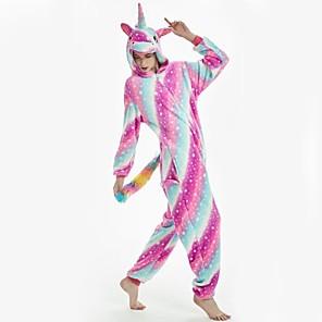 cheap Kigurumi Pajamas-Adults' Kigurumi Pajamas Unicorn Pony Onesie Pajamas Flannel Fabric Rainbow Cosplay For Men and Women Animal Sleepwear Cartoon Festival / Holiday Costumes