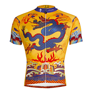 cheap Cycling Jerseys-ILPALADINO Men's Short Sleeve Cycling Jersey Polyester Yellow / Black Dragon Bike Jersey Top Mountain Bike MTB Road Bike Cycling Breathable Quick Dry Ultraviolet Resistant Sports Clothing Apparel