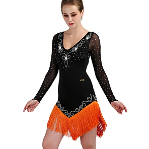 cheap Jewelry Sets-Latin Dance Dress Crystals / Rhinestones Women's Training Long Sleeve High Tulle Spandex