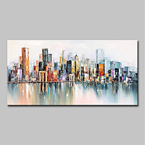cheap Abstract Paintings-Oil Painting Hand Painted Abstract / Landscape Modern Canvas Rolled Without Frame