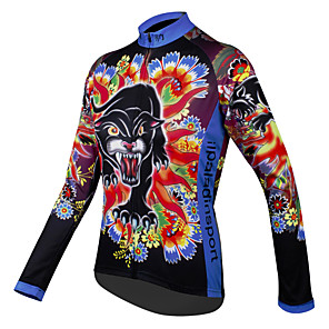 cheap Cycling Jerseys-ILPALADINO Women's Long Sleeve Cycling Jersey Winter Polyester Blue Purple Red Floral Botanical Plus Size Bike Jersey Top Mountain Bike MTB Road Bike Cycling Breathable Quick Dry Sports Clothing
