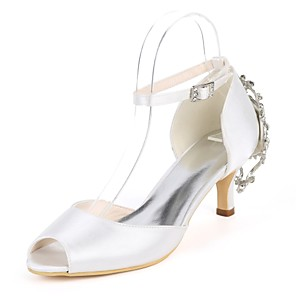 cheap Wedding Shoes-Women's Wedding Shoes Plus Size Kitten Heel Peep Toe Sweet Wedding Party & Evening Rhinestone Buckle Solid Colored Satin White / Red / Dark Purple