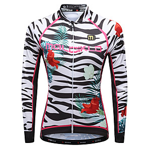 cheap Triathlon Clothing-Malciklo Women's Long Sleeve Cycling Jersey Winter Lycra Purple Yellow Red Floral Botanical Zebra Plus Size Bike Jersey Top Mountain Bike MTB Road Bike Cycling Breathable Quick Dry Reflective Strips
