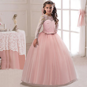 cheap Hair Jewelry-Kids Girls' Active Sweet Party Holiday Dusty Rose Solid Colored Long Sleeve Maxi Dress Wine