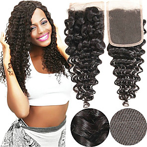cheap Synthetic Trendy Wigs-Yavida Mongolian Hair / Deep Wave 4x4 Closure / Free Part Curly Free Part Swiss Lace Human Hair Unisex Soft / Silky / Smooth Christmas Gifts / Party / Anniversary
