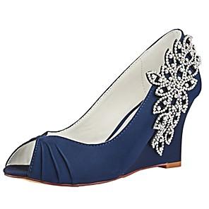 cheap Wedding Shoes-Women's Pumps Satin Spring & Summer Wedding Shoes Wedge Heel Peep Toe Crystal Dark Blue / Party & Evening