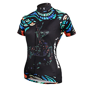 cheap Cycling Jerseys-ILPALADINO Women's Short Sleeve Cycling Jersey Polyester Black Deer Plus Size Bike Jersey Top Mountain Bike MTB Road Bike Cycling Breathable Quick Dry Ultraviolet Resistant Sports Clothing Apparel