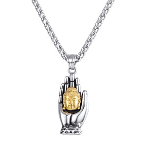 cheap Pendant Necklaces-Men's Pendant Necklace Classic franco chain Hand Buddha Classic Vintage Stainless Steel Silver 55 cm Necklace Jewelry 1pc For Gift Daily