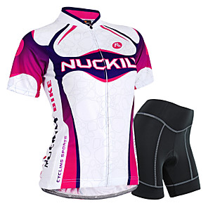 cheap Cycling Jersey & Shorts / Pants Sets-Nuckily Women's Short Sleeve Cycling Jersey with Shorts Purple Gradient Bike Shorts Jersey Clothing Suit Waterproof Breathable 3D Pad Reflective Strips Sweat-wicking Sports Polyester Spandex Gradient