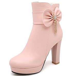 cheap Women's Boots-Women's Boots Fashion Boots Chunky Heel Closed Toe Microfiber Booties / Ankle Boots Fall White / Black / Pink