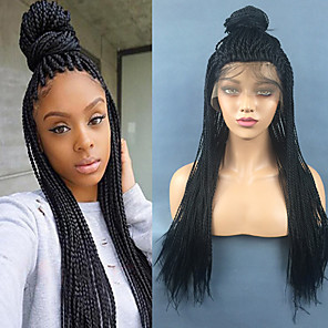 cheap Synthetic Lace Wigs-Synthetic Lace Front Wig Straight Middle Part Lace Front Wig Long Natural Black Synthetic Hair 22 inch Women's Gift Party Synthetic Black