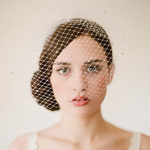 cheap Wedding Veils-One-tier Vintage Style / Classic Style Wedding Veil Blusher Veils with Sparkling Glitter / Solid Tulle / Birdcage