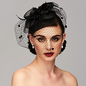 cheap Fascinators-Elegant & Luxurious Feather / Mesh Kentucky Derby Hat / Fascinators / Headpiece with Feather / Floral / Flower 1pc Wedding / Special Occasion / Tea Party Headpiece