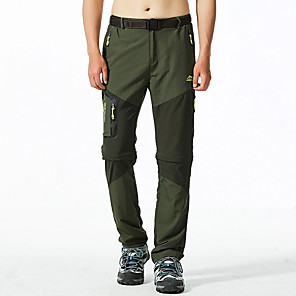 cheap Hiking Trousers & Shorts-Men's Hiking Pants Convertible Pants / Zip Off Pants Summer Outdoor Waterproof Breathable Quick Dry Anti-Wear Pants / Trousers Bottoms Black Army Green Khaki Camping / Hiking Hunting Fishing L XL XXL