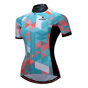 cheap Cycling Jerseys-Miloto Women's Short Sleeve Cycling Jersey Green Argyle Bike Jersey Top Breathable Moisture Wicking Reflective Strips Sports 100% Polyester Mountain Bike MTB Road Bike Cycling Clothing Apparel