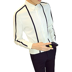 cheap Men's Necklaces-Men's Daily Shirt Striped Long Sleeve Slim Tops Business Classic Collar White Black / Fall / Work