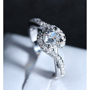 cheap Rings-Women's Ring 1pc Silver Copper Platinum Plated Imitation Diamond Four Prongs Ladies Romantic Fashion Wedding Formal Jewelry Stylish Crossover Halo Love Lovely