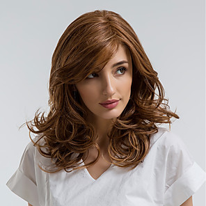 cheap Synthetic Trendy Wigs-Synthetic Wig Curly Side Part Wig Medium Length Brown Synthetic Hair 18 inch Women's Natural Hairline Brown MAYSU