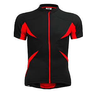 cheap Cycling Jerseys-Jaggad Men's Unisex Short Sleeve Cycling Jersey Polyester Elastane Red+Black Patchwork Bike Jersey Top Mountain Bike MTB Road Bike Cycling Breathable Quick Dry Sports Clothing Apparel