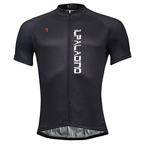cheap Cycling Jerseys-ILPALADINO Men's Short Sleeve Cycling Jersey Black Bike Jersey Top Mountain Bike MTB Road Bike Cycling Quick Dry Sports Polyester Coolmax® Eco-friendly Polyester Clothing Apparel / Stretchy