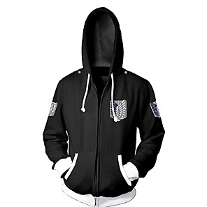 cheap Everyday Cosplay Anime Hoodies & T-Shirts-Inspired by Attack on Titan Eren Jager Cosplay Costume Hoodie Terylene Cartoon Stylish Hoodie For Unisex / Jacket