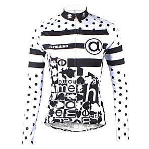 cheap Cycling Jerseys-ILPALADINO Women's Long Sleeve Cycling Jersey Winter Black / White Polka Dot Plus Size Bike Jersey Top Mountain Bike MTB Road Bike Cycling Breathable Quick Dry Ultraviolet Resistant Sports Clothing