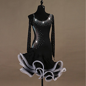 cheap Latin Dancewear-Latin Dance Dress Crystals / Rhinestones Women's Training Long Sleeve High Spandex Tulle