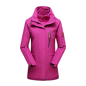 cheap Softshell, Fleece & Hiking Jackets-Women's Hoodie Jacket Hiking Jacket Winter Outdoor Thermal / Warm Windproof UV Resistant Breathable 3-in-1 Jacket Top Single Slider Camping / Hiking Ski / Snowboard Fishing Black / Sky Blue / Fuchsia