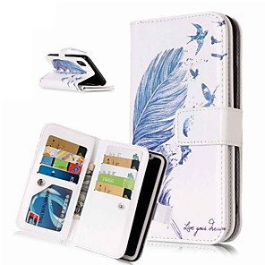 cheap iPhone Cases-Case For Apple iPhone XS / iPhone XR / iPhone XS Max Wallet / Card Holder / with Stand Full Body Cases Feathers Hard PU Leather