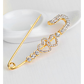 cheap Party Sashes-Women's Brooches 3D Heart Hollow Heart Ladies Stylish Unique Design Rhinestone Gold Plated Brooch Jewelry Gold For Daily Work