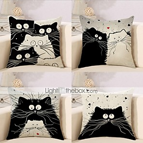 cheap Pillow Covers-4 pcs Cotton / Linen Modern / Contemporary Pillow Case, Anime Animal Cartoon Animals Cartoon